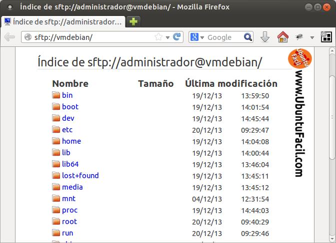 Acceso SFTP a servidor ssh con Firefox