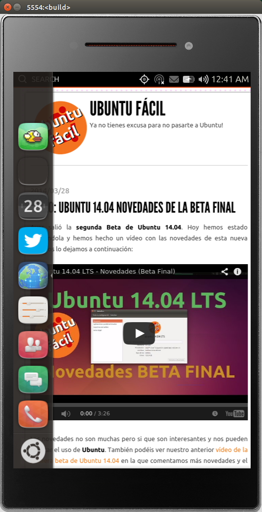 Ubuntu Touch en el Emulador de Ubuntu 14.04