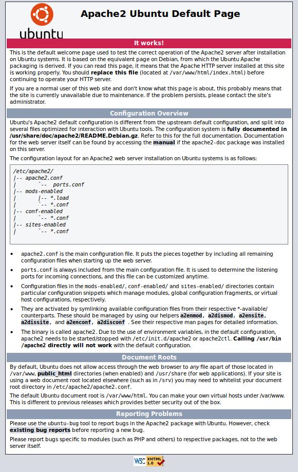 Pantalla por defecto de apache2 en Ubuntu 14.04