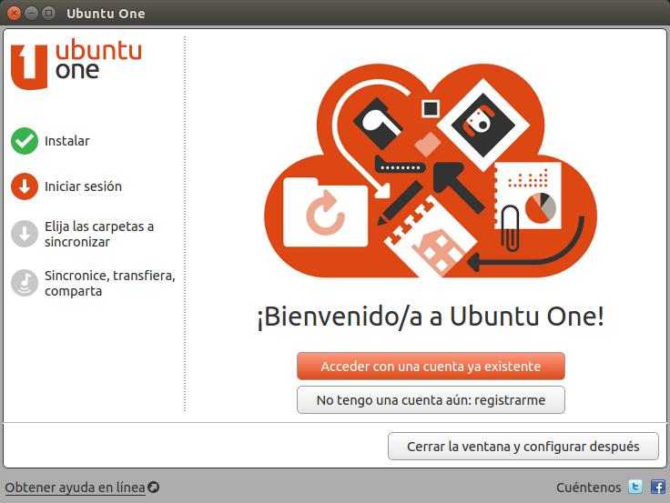Pantalla de bienvenida de Ubuntu One